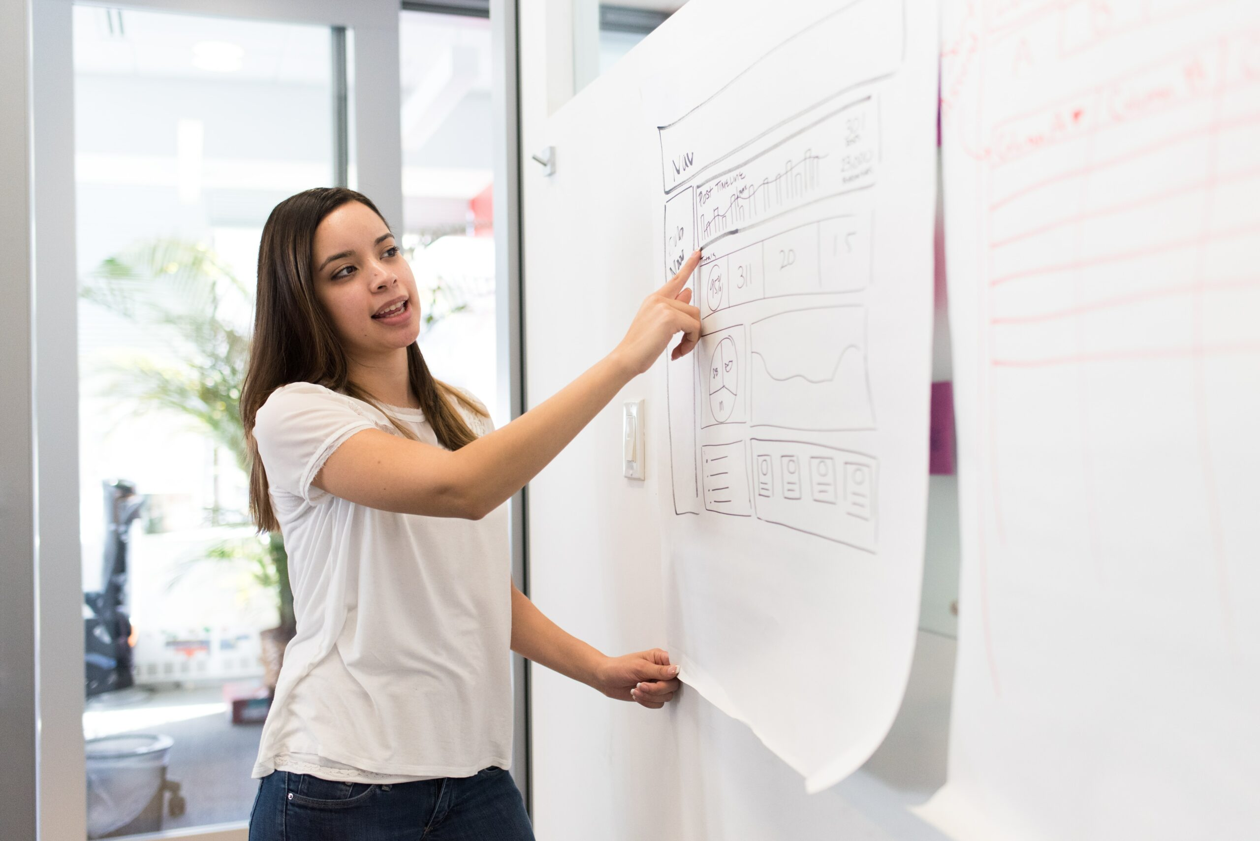 woman pointing at board with diagram