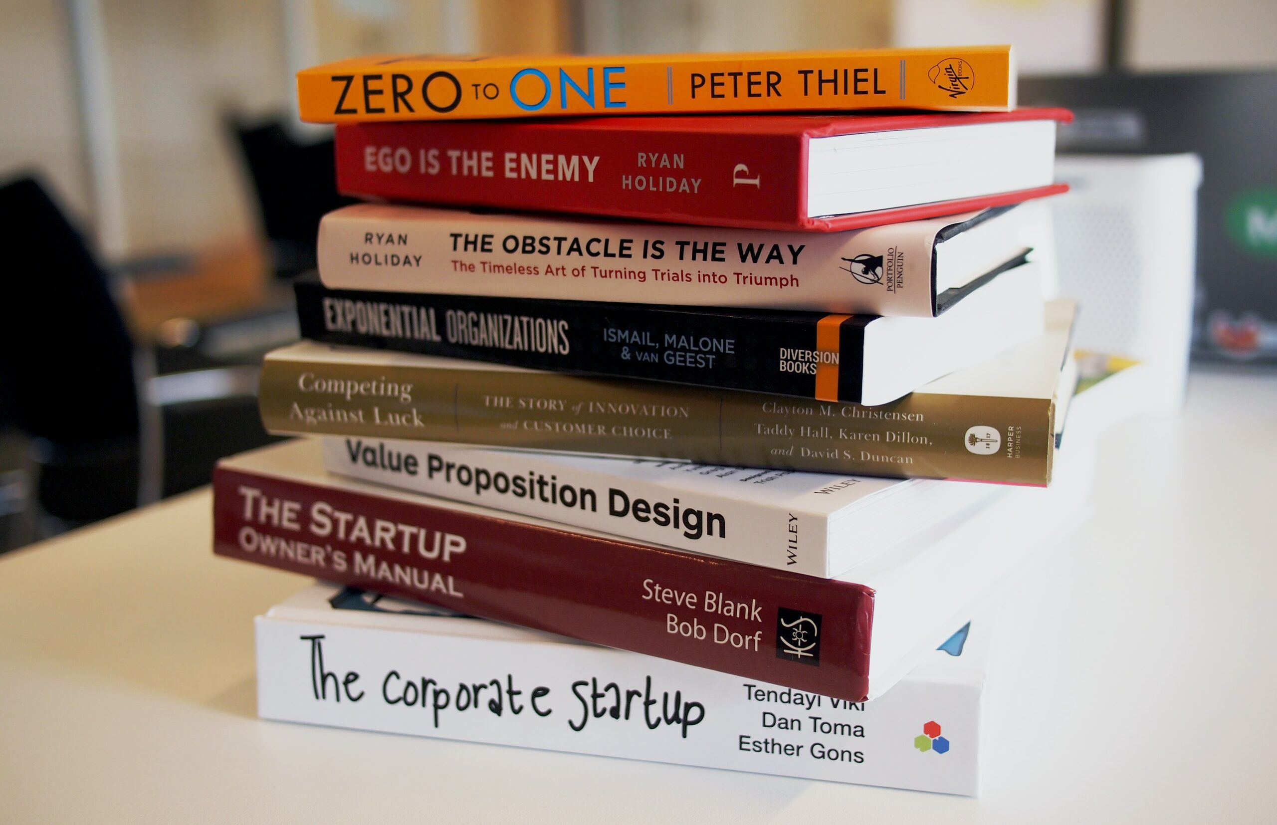 stack of business related books