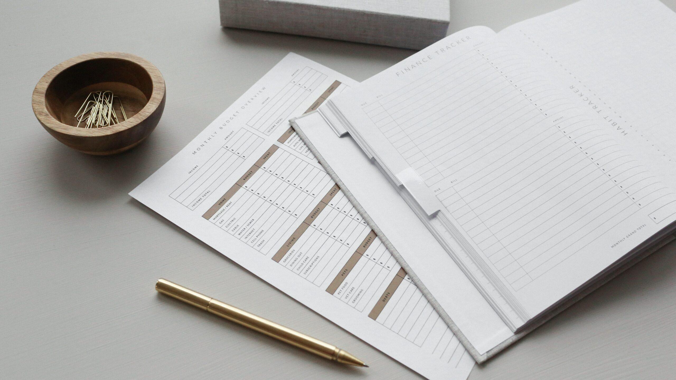 spreadsheets on desk